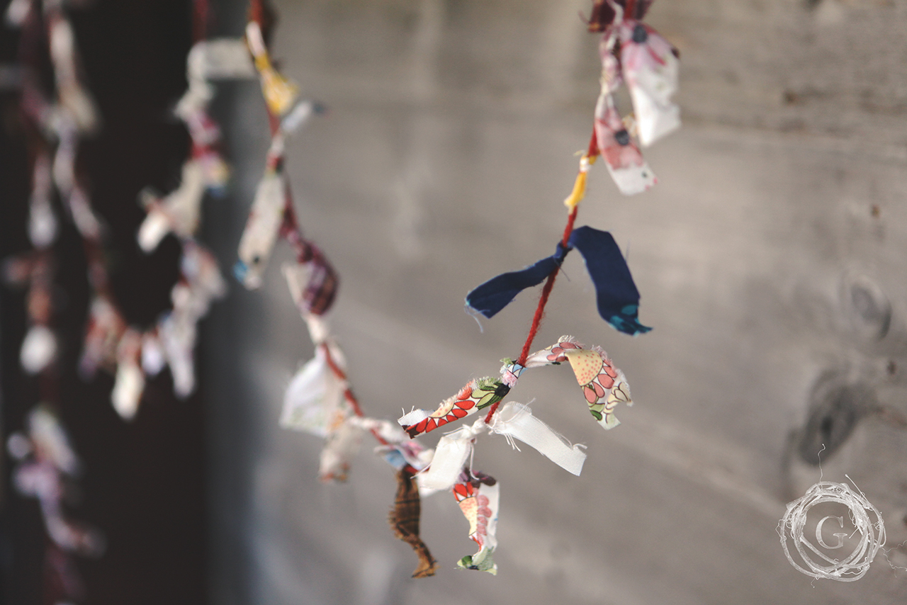 Handmade upcycled fabric garland